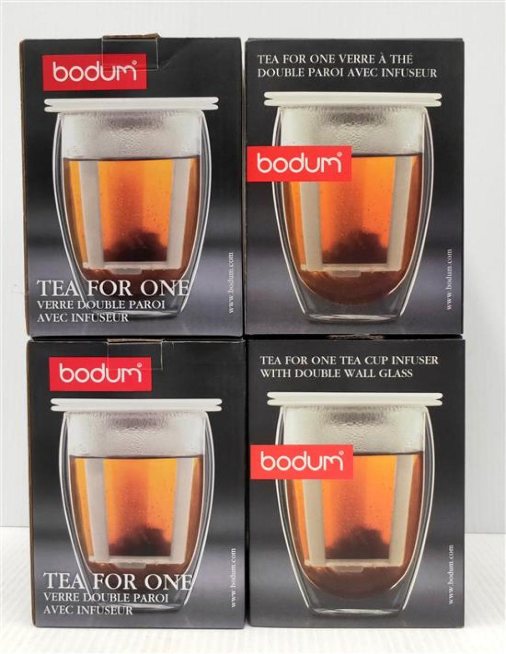 Four Bodum Tea-For-One, All in White