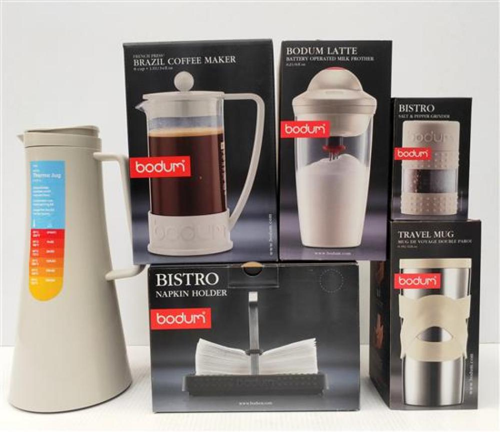 A Bodum Thermo Jug, Coffee Maker (8 Cup), Napkin Holder, Milk Frother, S&P Grinder & Travel Mug, All in White [6]