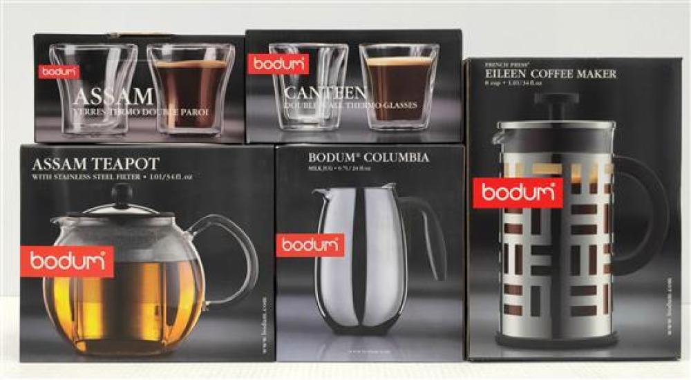 Bodum Eileen Coffee Maker, Assam Teapot, Milk Jug & Four Double-Walled Thermo Glasses