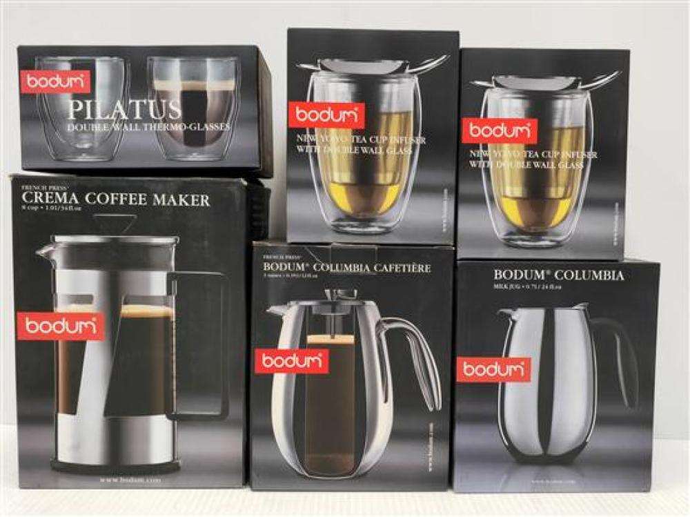 Two Bodum Coffee Makers, Milk Jug, Two Tea Cup Infusers & A Set of Double-Wall Thermo Glasses, All Stainless Steel & Glass [6]