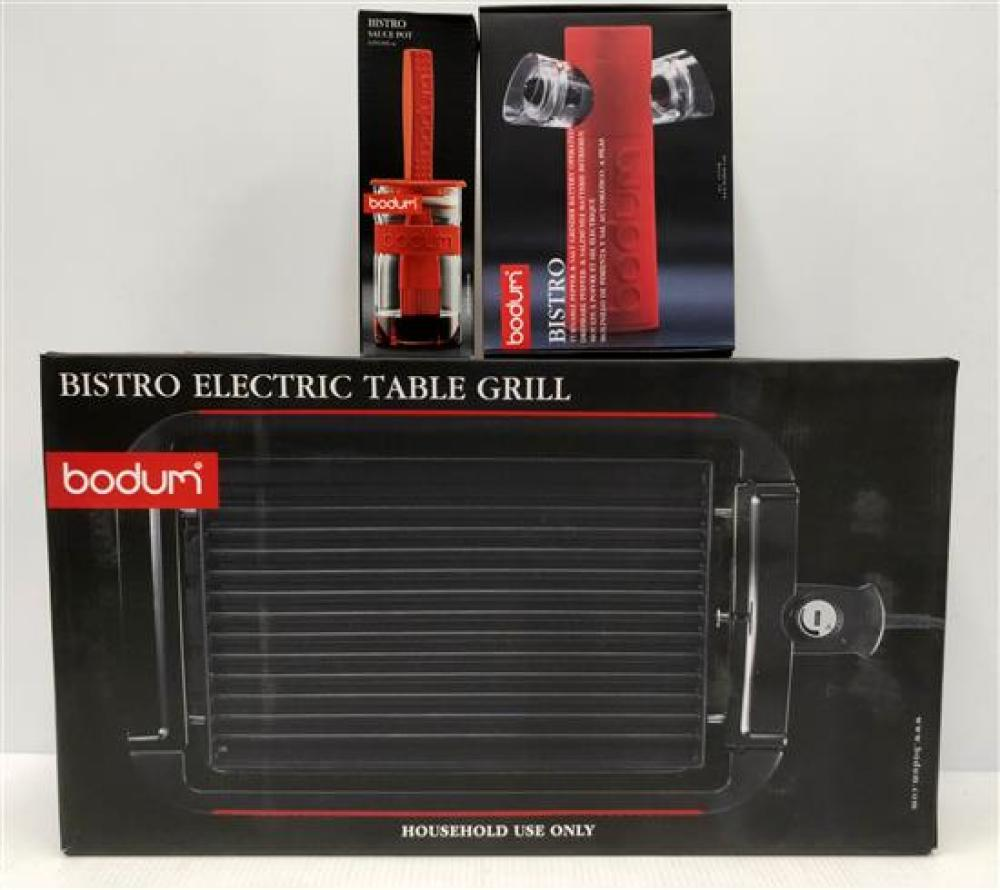 A Bodum Table Grill, S&P Grinder & Sauce Pot, All in Red