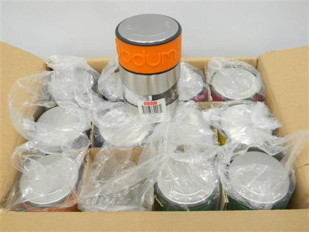 A Box of 12 Bodum S&P Grinders in Assorted Colours