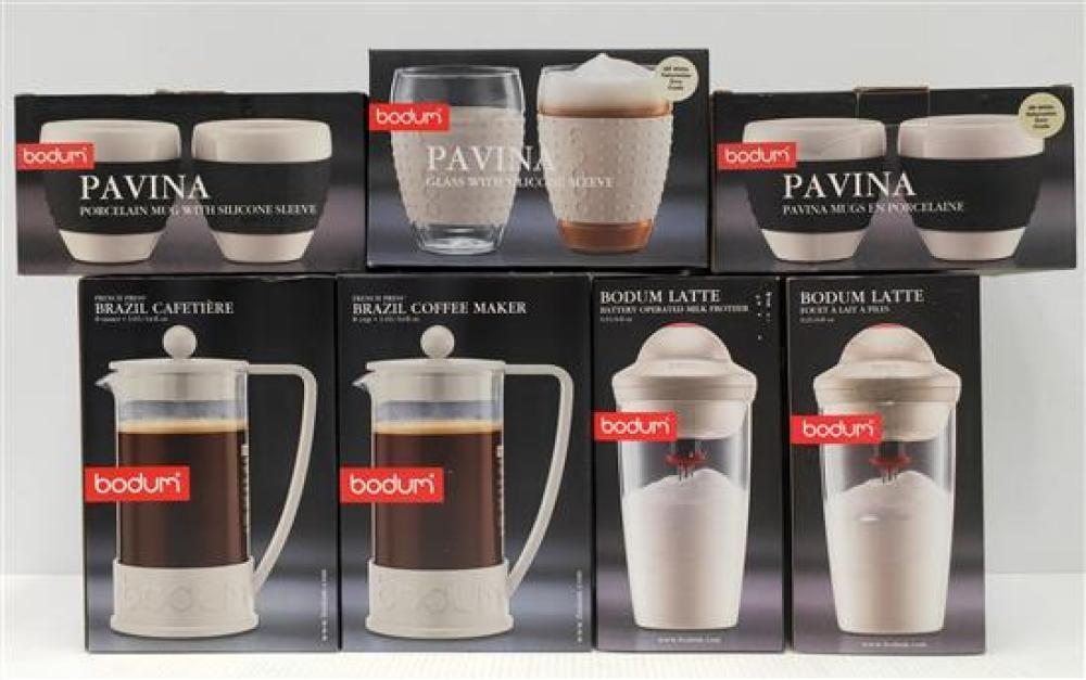 Two Bodum Brazil Coffee Maker (8 Cup), Two Bodum Battery Milk Frother & Selection of Bodum Pavina Cups