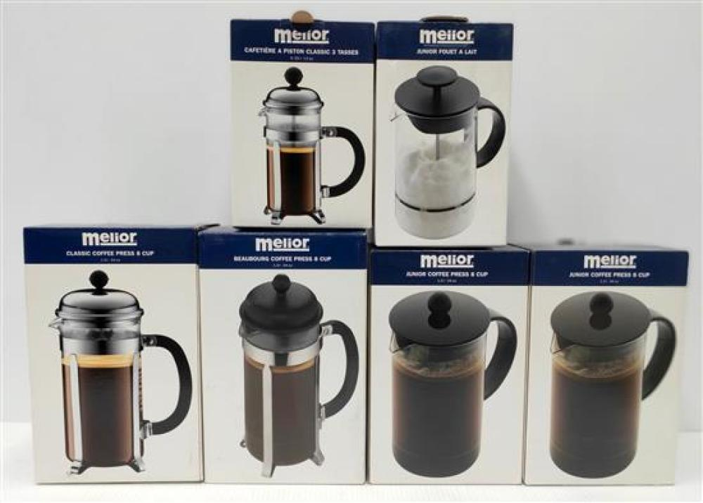 Five Assorted Melior Coffee Presses & One Milk Frother