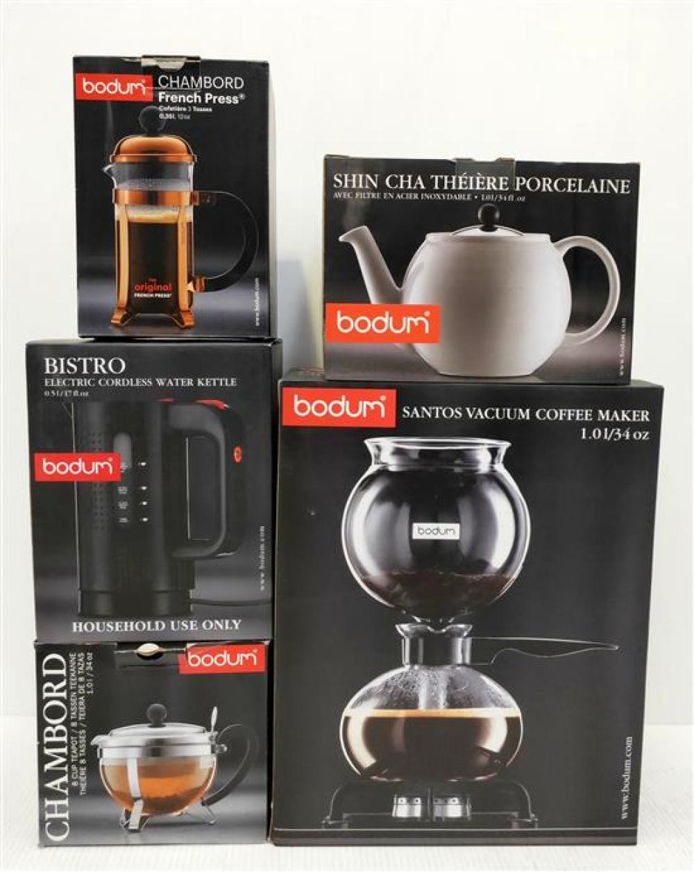 A Bodum Vaccum Coffee Maker, Two Tea Pots, Water Kettle & French Press [5]