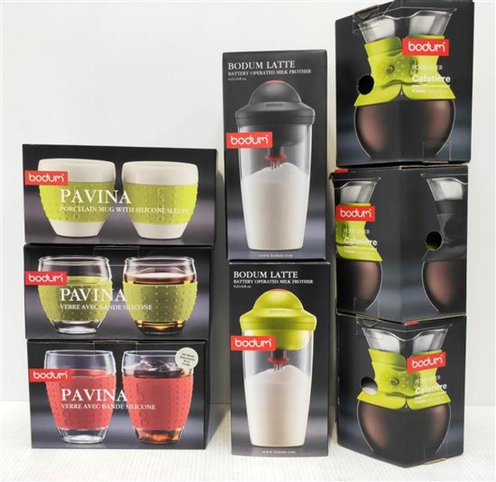 Three Bodum Pour Over Coffee Makers, Two Milk Frothers, Three Pavina Cup Sets, Assorted Colours