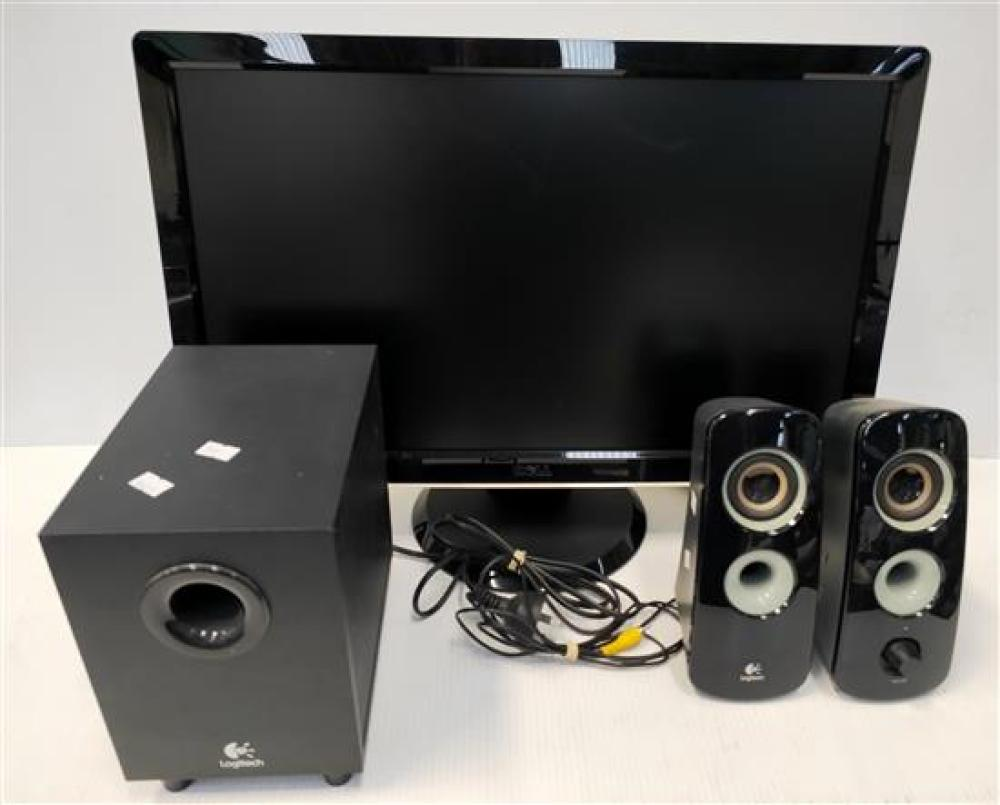 A Dell LCD Computer Monitor with Logitech Speakers,