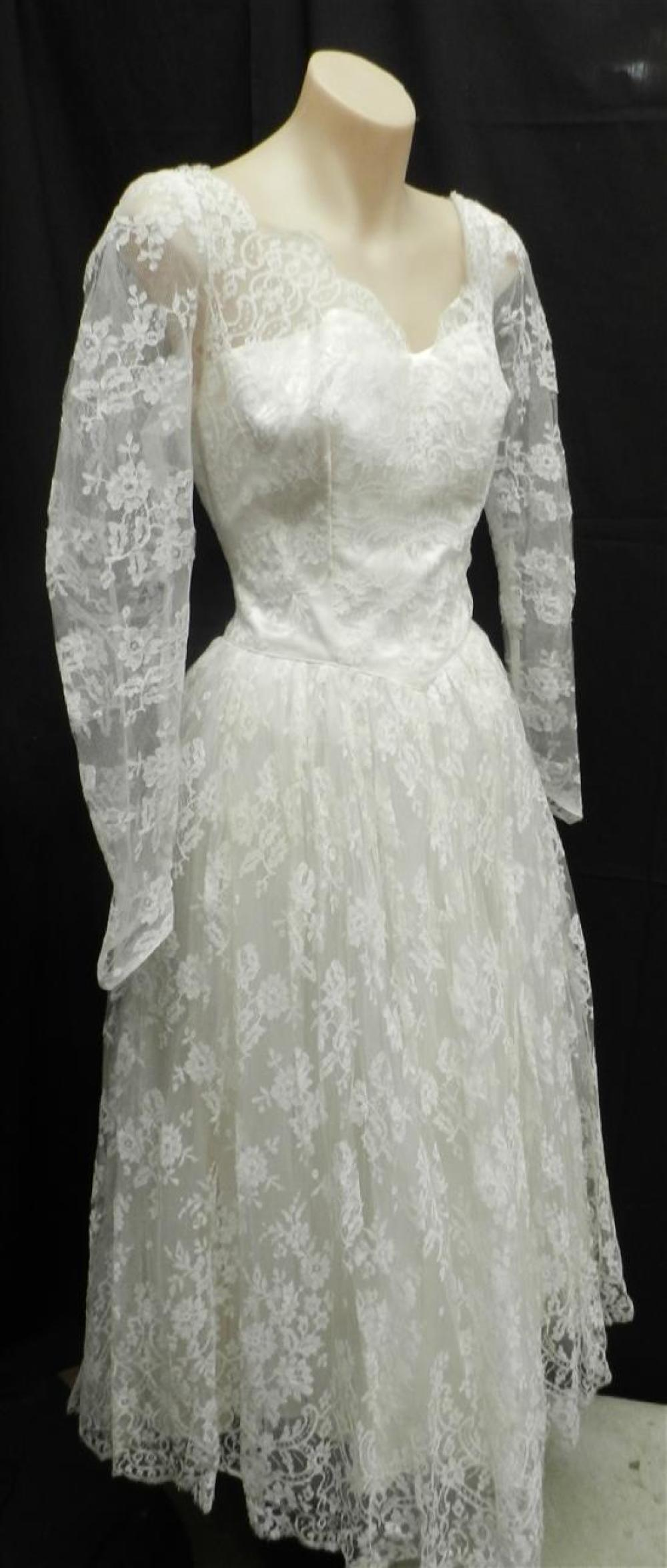 An Ivory All Over Chantilly Lace Over Tulle Wedding Dress,