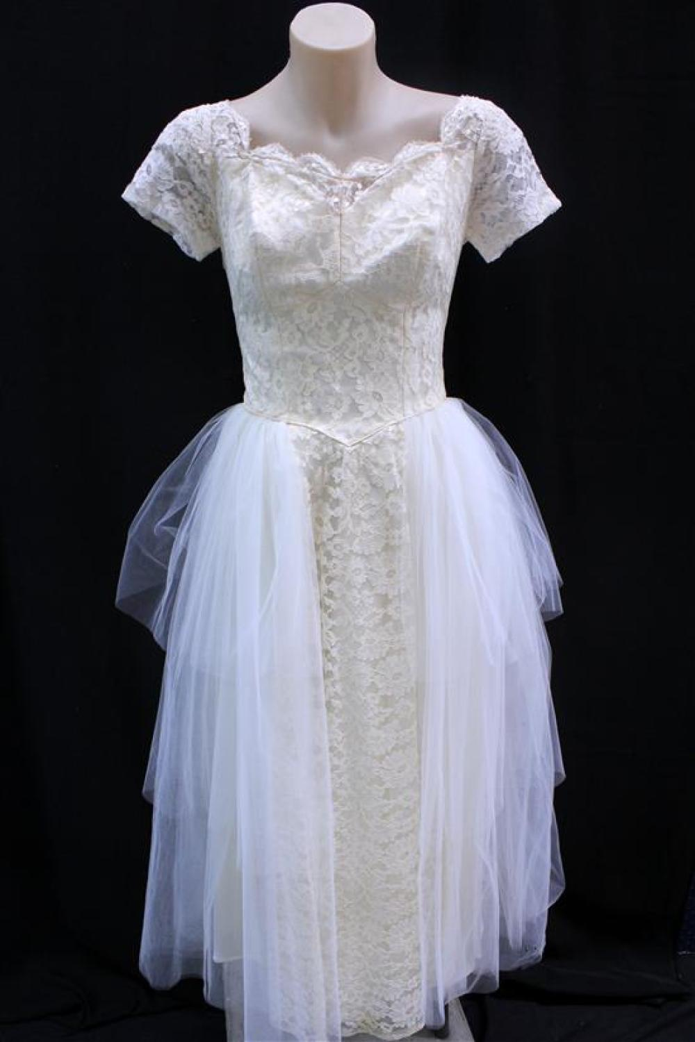 A Cahill of Beverly Hills, Champagne Chantilly Lace & Silk Tulle Tealength Wedding Dress,