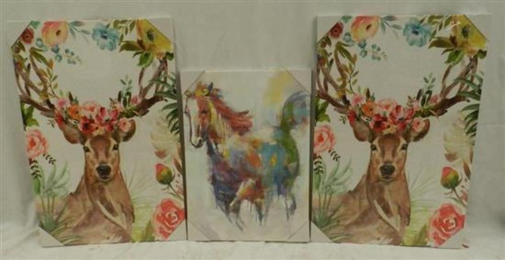 Three Prints, Two Depicting A Stag & The Other, A Horse,