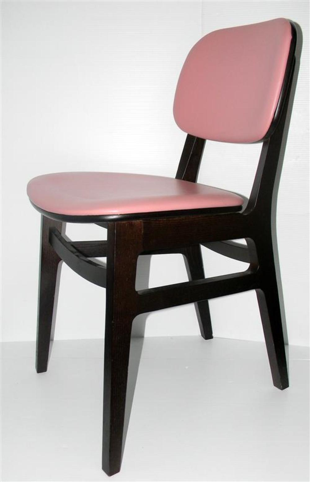 Eight Indentity Furniture XKITI Upholstered Dining chairs (RRP$500 each) in stained solid Eurpoean Ash