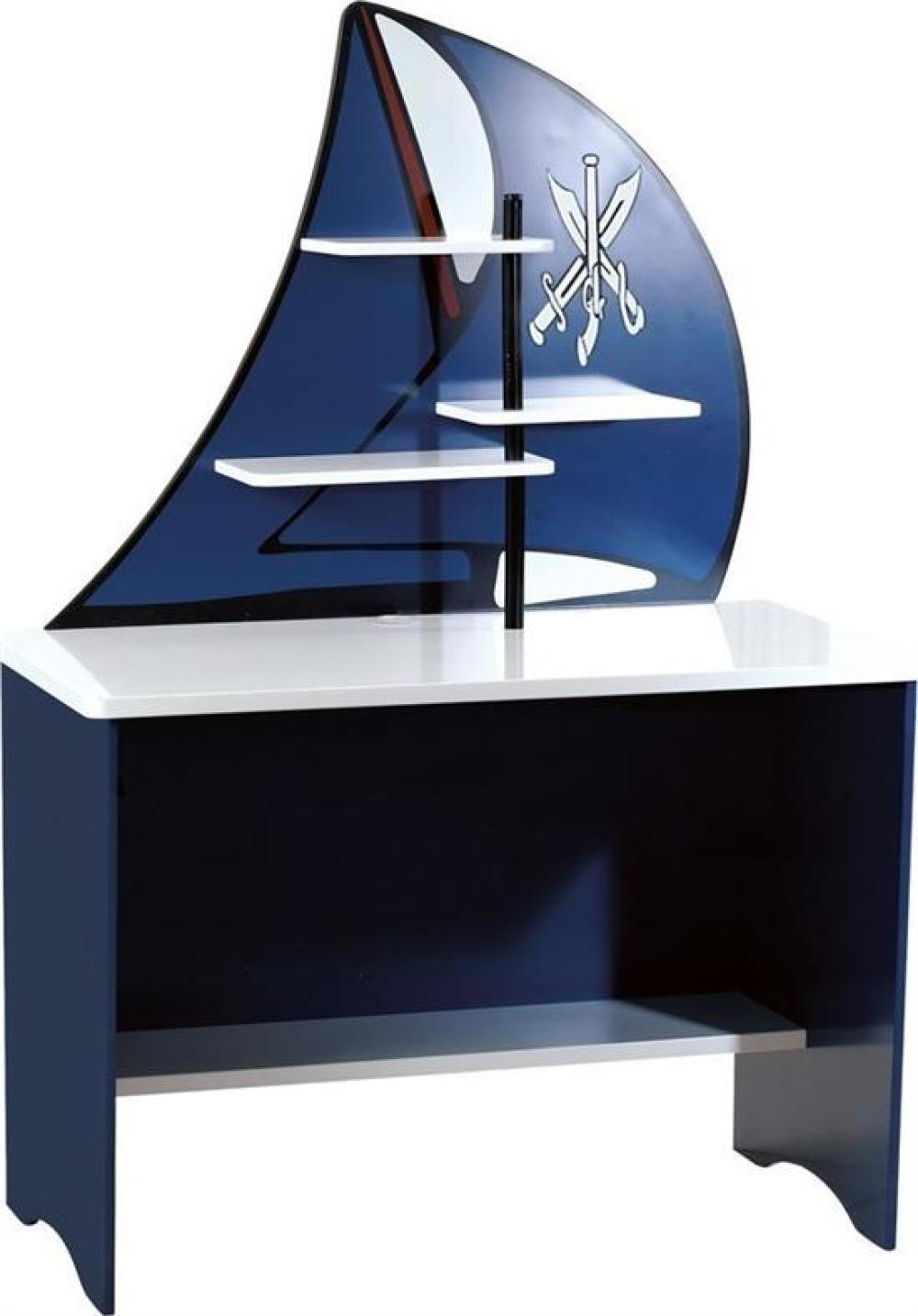 A Pirate Sail Desk (RRP$499), Includes 3 shelves for extra storage Size: 156h x 107w x 60d cm MDF, Ages 4+ Years, Comes in two boxes