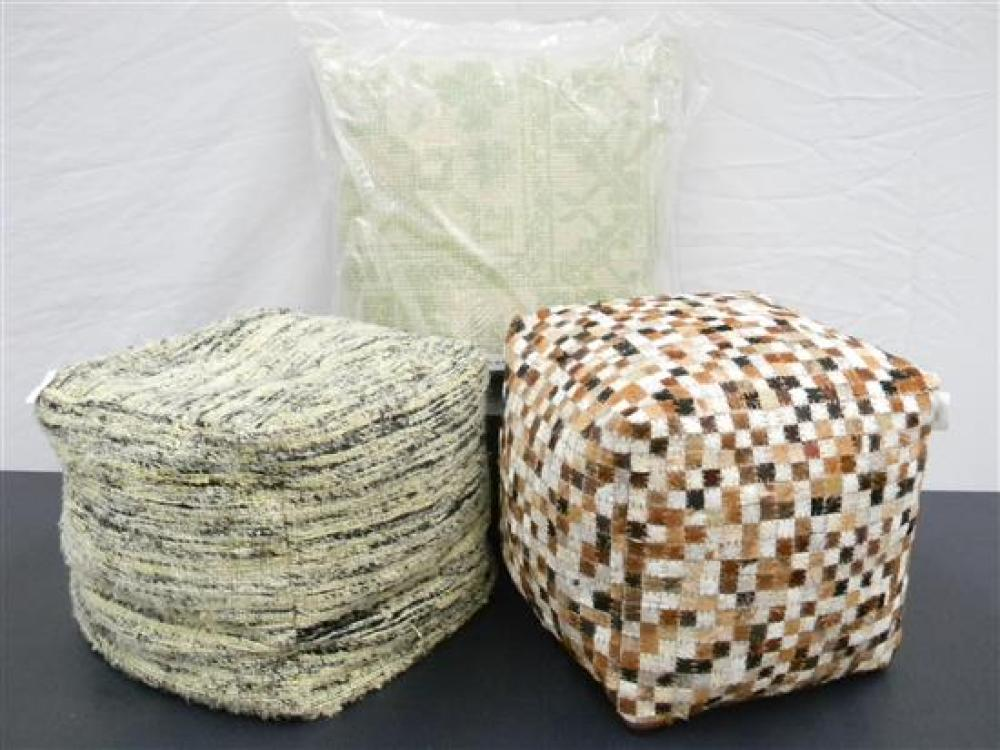 Two Ottomans together with a Kilim Style Handwoven Cushion in Green [3]