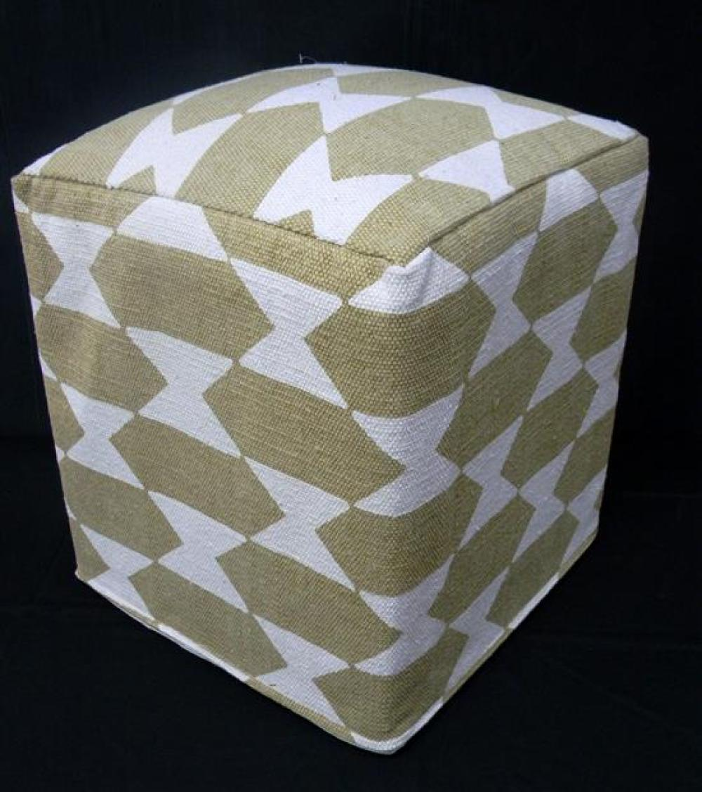 A Coppola Home Ottoman with a Tan/White Hourglass Pattern