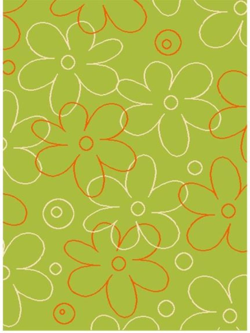 Six Flash Abstract Daisy Flatweave Berclon Rugs in Lime
