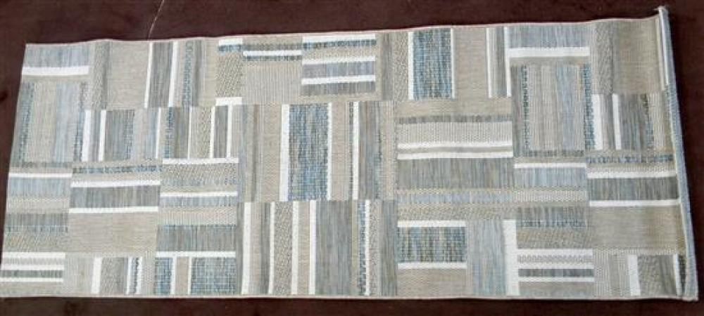 A Sythnetic Rug in Brown Diamond & Fawn Stripes