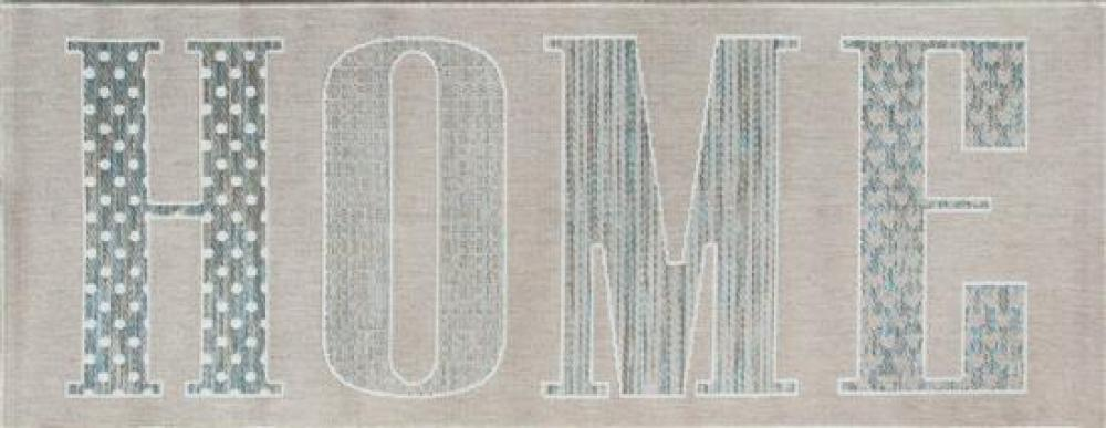 """Three Blue/Beige Flat Weave Synthetic """"Home"""" Rugs"""