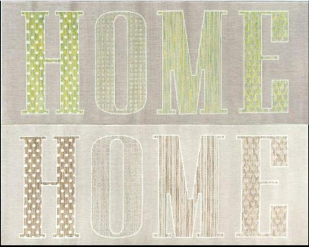 """Four Flat Weave Syntetic """"Home"""" Rugs, Green & Beige"""