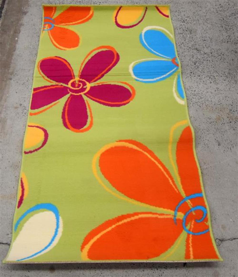 Five Balta Synthetic Rugs with an Green Floral Design