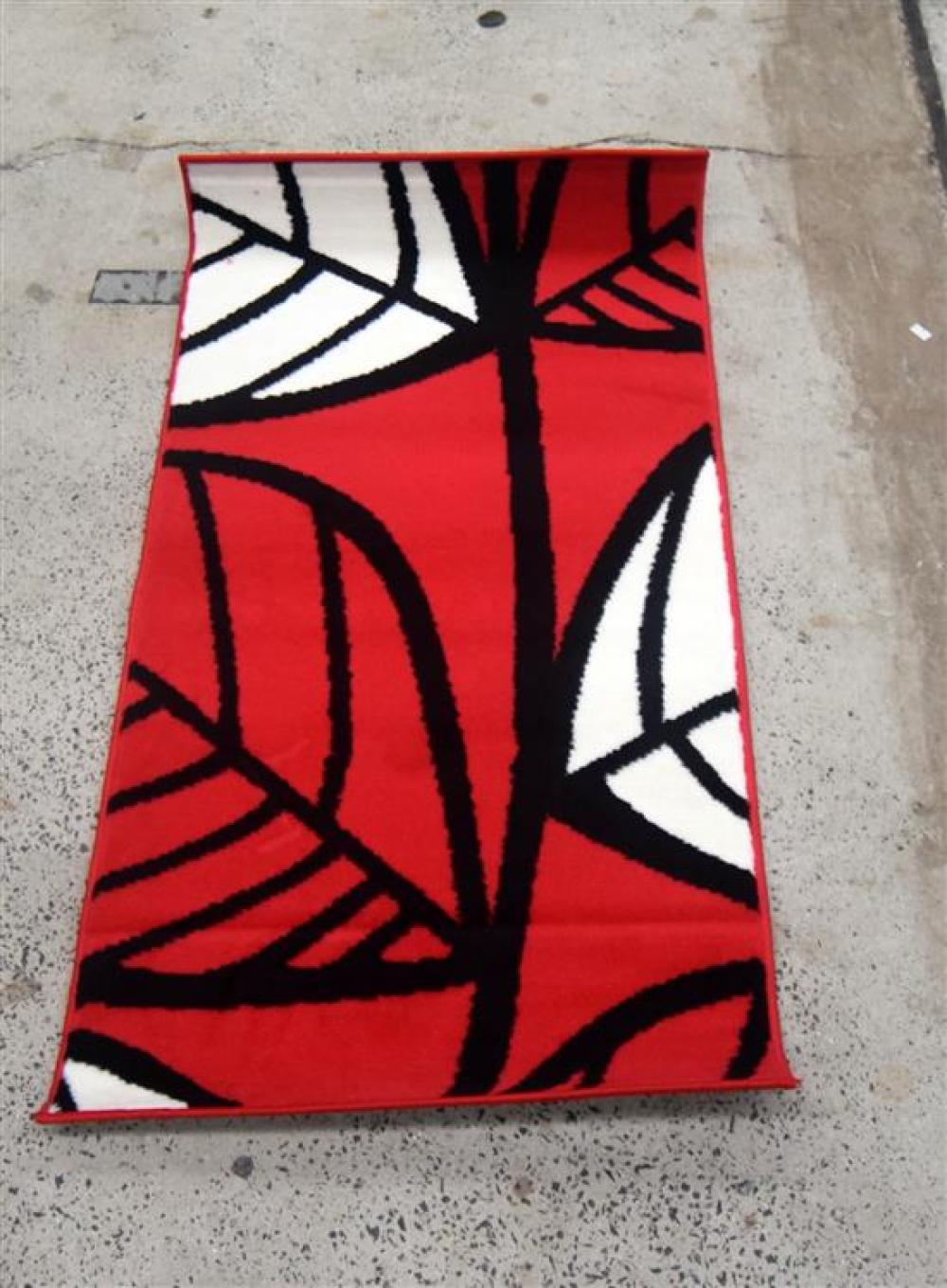 Nine Balta Synthetic Rugs in Red & White with a Leaf Pattern