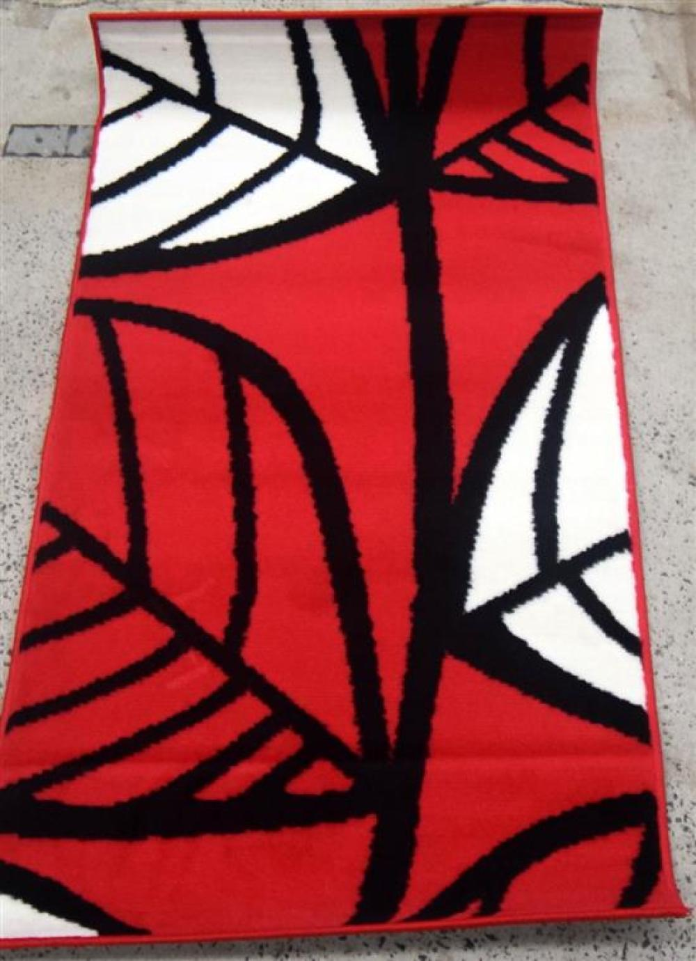 Ten Balta Synthetic Rugs in Red & White with a Leaf Pattern