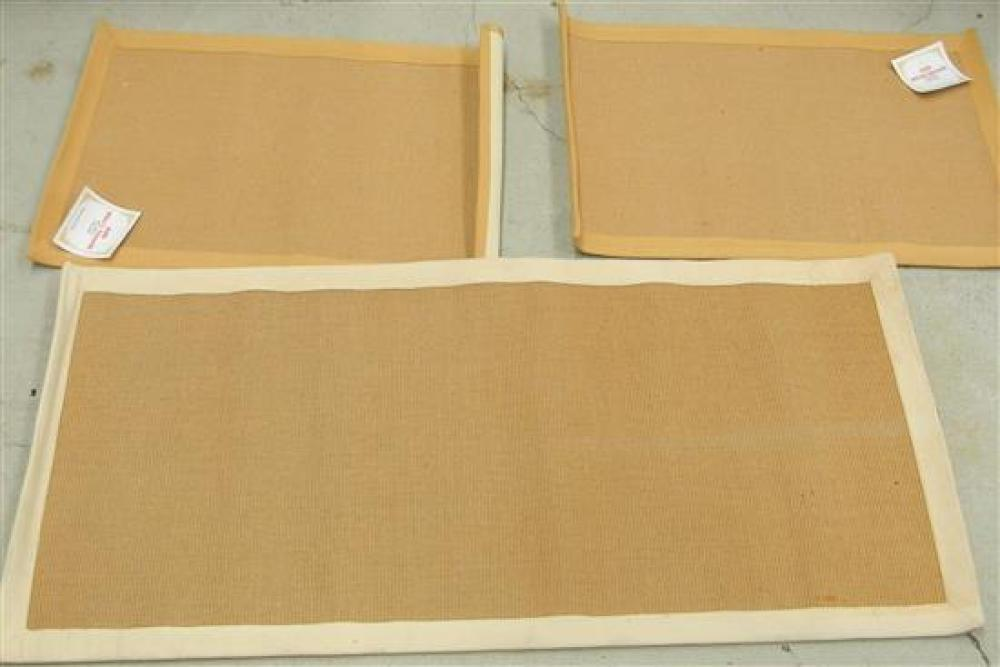 Two Jute Micro Boucle Natural 60 x 90 cm Mats & One Coco Jute Mat with Off-white Border 70 x 150 cm