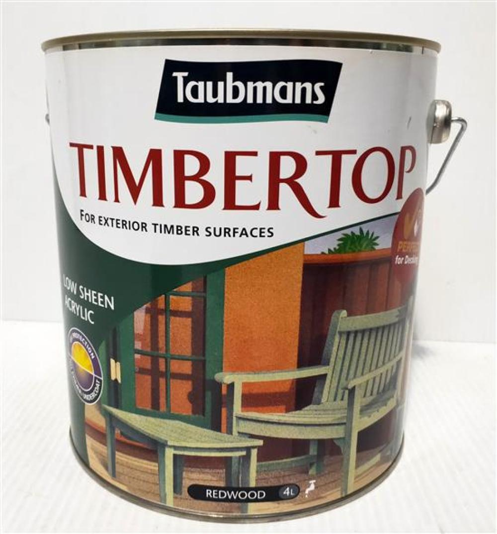 """Two x 4 L Taubmans """"Redwood"""" Timbertop Low Sheen Acrylic for Exterior Timber Surfaces"""