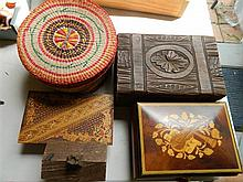Five assorted timber boxes
