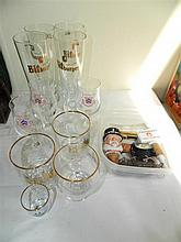 A quantity of named glassware and pourers
