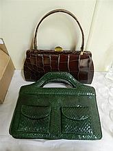A crocodile skin handbag