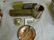 Assorted sundries including EP boxes, pin dishes, etc