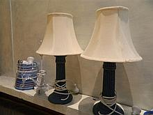 A pair of column form bedside lamps plus another