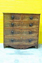 A George III mahogany bow fronted chest of five drawers, 109.5cm W