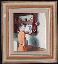 Brian Blanchard (b.1934) In the Kitchen Oil on board