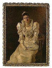 """Portrait by Edmund Blume (British, 1844-1911), three-quarter portrait of woman wearing white dress and holding fan, tiara, triple strand of pearls, signed lower left """"""""Blume Munchen 1893,"""""""" oil on canvas, 49- 1/4 x 35-1/2 in., 19th century gilt wood"""