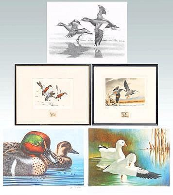 Five Federal duck stamp prints, 1969-72, 1979: