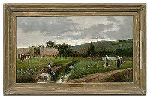 Jose Y Cejudo Rico painting, (Spanish, 1864-1939), genre scene with women doing laundry at creekside, signed lower right 'Jose Rico'Roma', oil on canvas, Christie's label verso, 20 x 35.625in.; wood and composition frame. Canvas loose, original