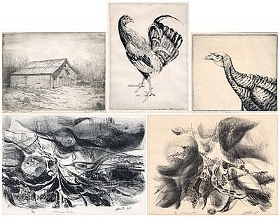 Five American prints, drawings: two signed lower