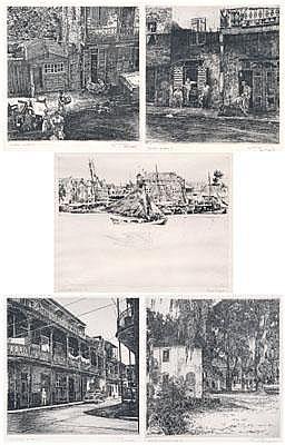 Five Philip Kappel etchings (American, 1901-1981):