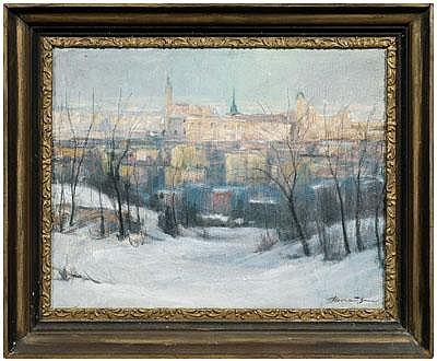 Bela Horvath painting (Ohio, 1888-1973), winter