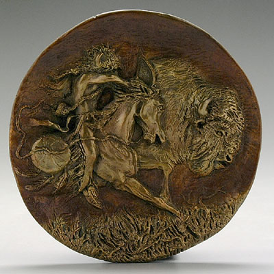 Bronze buffalo plaque