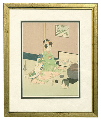 Four Japanese woodblock prints: Two prints of puppets