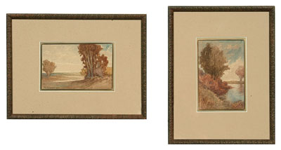 Two watercolors by Abner Crossman (Chicago