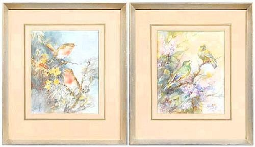 Pair William E. Powell watercolors (British,