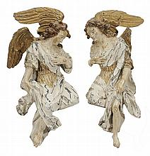 Pair Baroque Carved Polychromed