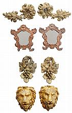 Four Pairs, Carved Lion Plaques,