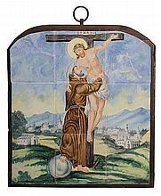 Delft Tile Panel Depicting Saint with