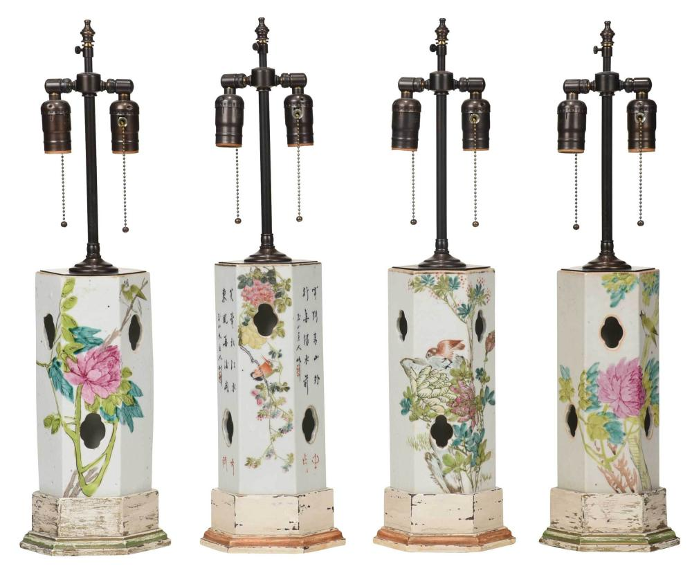 Four Chinese Wig Stand Vases Converted to Lamps