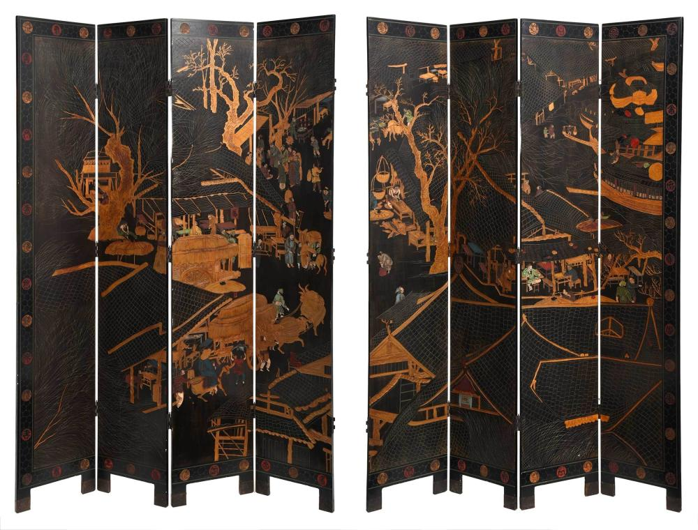 Chinese Carved and Polychromed Eight Panel Room Screen