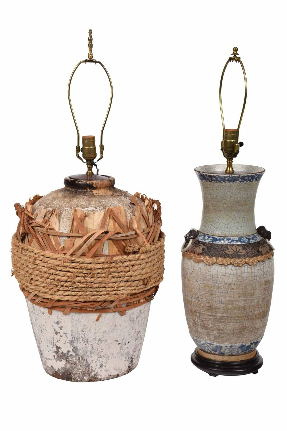 Two Asian Ceramic Vases Mounted as Lamps